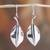 Sterling silver dangle earrings, 'Smooth Leaves' - Sterling Silver Leaf Dangle Earrings from Mexico thumbail