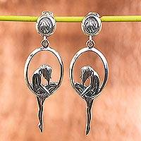 Sterling silver dangle earrings, 'Melancholia' - Artisan Crafted Sterling Silver Dangle Earrings from Mexico