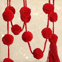 Cotton pompom garland, 'Cheerful Cherries' - Handcrafted Cherry Red Cotton Pompom Garland from Mexico