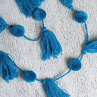 Cotton pompom garland, 'Playful Sky' - Handcrafted Peacock Blue Cotton Pompom and Tassel Garland