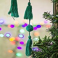 Cotton pompom garland, 'Playful Meadow' - Handcrafted Green Cotton Pompom and Tassel Garland