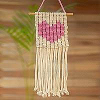Cotton wall hanging, 'Loving Vibe in Carnation' - Heart Motif Cotton Wall Hanging in Carnation from Mexico