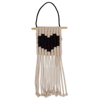 Cotton wall hanging, 'Loving Vibe in Black' - Handmade Cotton Wall Hanging with a Black Heart from Mexico