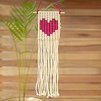 Cotton wall hanging, 'Loving Vibe in Fuchsia' - Cotton Wall Hanging with a Fuchsia Heart from Mexico
