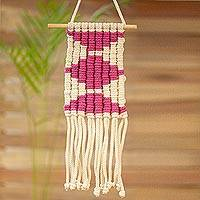 Cotton wall hanging, 'Artisanal Geometry' - Handwoven Cotton Wall Hanging with Orchid Diamond Motifs