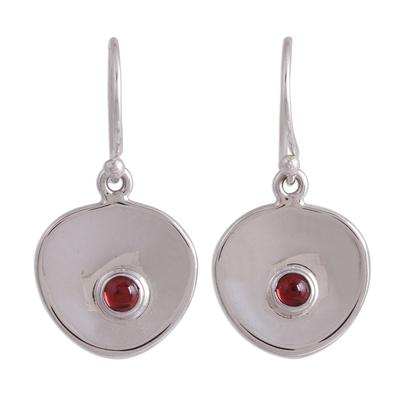 Garnet dangle earrings, 'Parabolic Form' - Modern Garnet Dangle Earrings from Mexico
