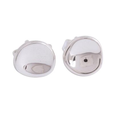 Sterling silver stud earrings, 'Parabolic Shine' - Modern Sterling Silver Stud Earrings from Mexico