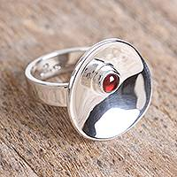 Garnet cocktail ring, 'Parabolic Form' - Modern Garnet Cocktail Ring from Mexico