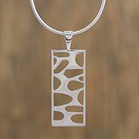 Sterling silver pendant necklace, 'Organic Form' - Modern Sterling Silver Pendant Necklace from Mexico