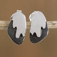 Sterling silver stud earrings, 'Mountain Summits' - Combination Finish Sterling Silver Stud Earrings from Mexico
