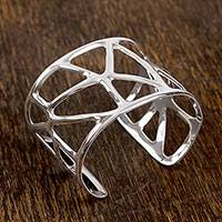 Sterling silver cuff bracelet, 'Bare Trees' - Handcrafted Sterling Silver Abstract Openwork Cuff Bracelet