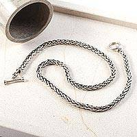 Men's sterling silver chain necklace, 'Sophisticated Gentleman' - Men's Handcrafted Sterling Silver Wheat Chain Necklace
