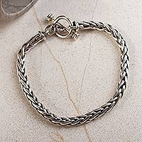 Men's sterling silver link bracelet, 'Sophisticated Gentleman' - Men's Handcrafted Sterling Silver Wheat Chain Link Bracelet