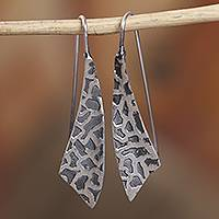 Sterling silver drop earrings, 'Modern Giraffe' - Modern Taxco Sterling Silver Drop Earrings from Mexico