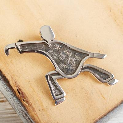 Sterling silver pendant, 'Tai Chi' - Sterling Silver Pendant of Tai Chi Figure in Action