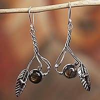 Labradorite dangle earrings, 'Twist in the Breeze' - Sterling Silver and Labradorite Nature Motif Dangle Earrings