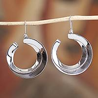 Sterling silver dangle earrings, 'Modern Crescents' - Modern Taxco Sterling Silver Crescent Dangle Earrings