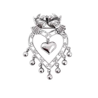 Romantic Sterling Silver Hearts and Love Doves Pendant