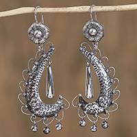 Sterling silver chandelier earrings, 'Rain of Paradise' - Taxco Sterling Silver Chandelier Earrings from Mexico