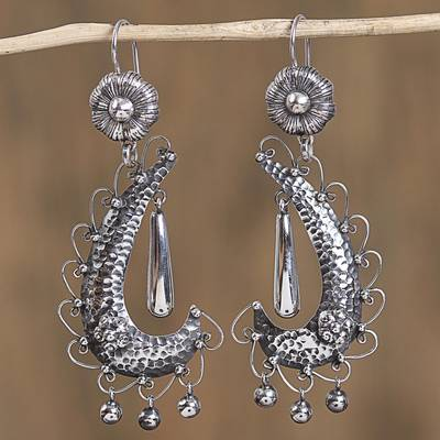 Sterling silver dangle earrings, 'Rain of Paradise' - Taxco Sterling Silver Dangle Earrings from Mexico