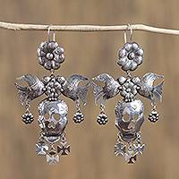 Sterling silver chandelier earrings, 'Life in Death' - Taxco Sterling Silver Skull Chandelier Earrings from Mexico