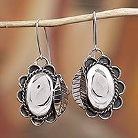 Sterling silver dangle earrings, 'Leafy Seeds' - Taxco Sterling Silver Leaf Dangle Earrings from Mexico