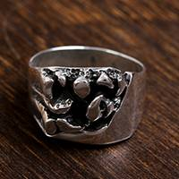 Men's sterling silver ring, 'Crevices' - Men's Handcrafted Sterling Silver Abstract Cocktail Ring