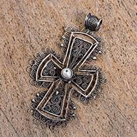 Sterling silver filigree pendant, 'Dark Taxco Cross' - Sterling Silver Filigree Cross Pendant from Mexico