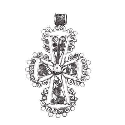 Sterling Silver Filigree Cross Pendant from Mexico