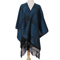 Zapotec cotton rebozo shawl, 'Turquoise Dimension'