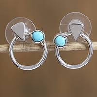 Turquoise button earrings, 'Moons of Mars' - Modern Natural Turquoise Button Earrings from Mexico