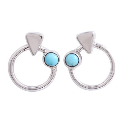 Modern Natural Turquoise Drop Earrings from Mexico