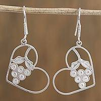 Silver filigree dangle earrings, 'Heart Berries' - Heart and Grape Motif Silver Filigree Dangle Earrings