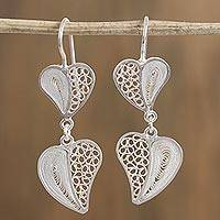 Silver filigree dangle earrings, 'Floating Hearts' - Heart-Shaped Silver Filigree Dangle Earrings from Mexico