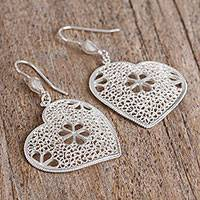 Silver filigree dangle earrings, 'Fragrant Hearts' - Floral Heart-Shaped Silver Filigree Dangle Earrings
