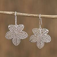 Silver filigree dangle earrings, 'Intricate Leaves' - Silver Filigree Leaf Dangle Earrings from Mexico