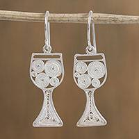Silver filigree dangle earrings, 'Wine Glasses' - Silver Filigree Wine Glass Dangle Earrings from Mexico