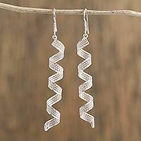 Silver filigree dangle earrings, 'Spiral Coils' - Spiral-Shaped Silver Filigree Dangle Earrings from Mexico