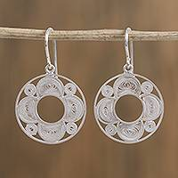 Silver filigree dangle earrings, 'Elegant Coils' - Circular Silver Filigree Dangle Earrings from Mexico