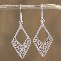 Silver filigree dangle earrings, 'Coiled Rhombi' - Silver Filigree Rhombus Dangle Earrings from Mexico