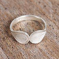 Silver filigree cocktail ring, 'Coiled Leaves' - Artisan Crafted Silver Filigree Cocktail Ring from Mexico
