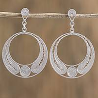Silver filigree dangle earrings, 'Coiled Circles' - Handmade Silver Filigree Dangle Earrings from Mexico