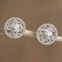 Silver filigree stud earrings, 'Gleaming Bucklers' - Circular Silver Filigree Stud Earrings from Mexico