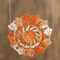 Cotton pendant necklace, 'Orange Flower' - Floral Crocheted Cotton Pendant Necklace in Orange