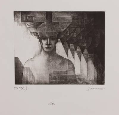 'Echo' - Signed Surrealist Print from Mexico