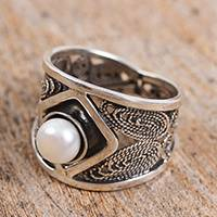 Cultured pearl filigree cocktail ring, 'Ocean's Jewel' - Handcrafted Cultured Pearl and Sterling Silver Cocktail Ring