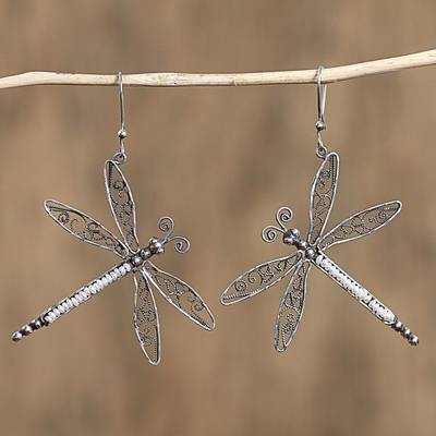 Cultured pearl filigree dangle earrings, 'Taxco Dragonfly' - Cultured Pearl Filigree Dragonfly Earrings from Mexico