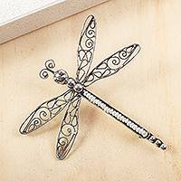 Cultured pearl filigree brooch, 'Taxco Dragonfly' - Cultured Pearl Filigree Dragonfly Brooch from Mexico