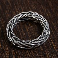 Men's sterling silver band ring, 'Sophisticated Gentleman' - Men's Handcrafted Sterling Silver Wheat Chain Band Ring