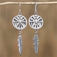 Sterling silver dangle earrings, 'Navajo Eagle' - Navajo Sterling Silver Eagle Dangle Earrings from Mexico